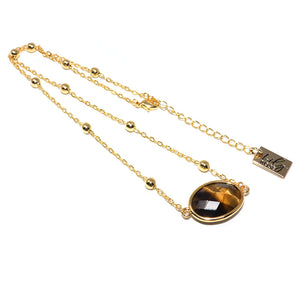 "Faceted Gemstone Oval Tigers Eye Pendant Choker 14"" + 2"" Gold Necklace"