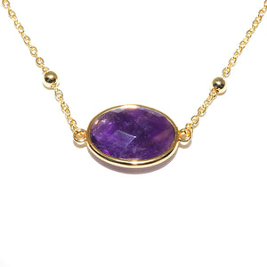 "Faceted Gemstone Oval Amethyst Pendant Choker 14"" + 2"" Gold Necklace"