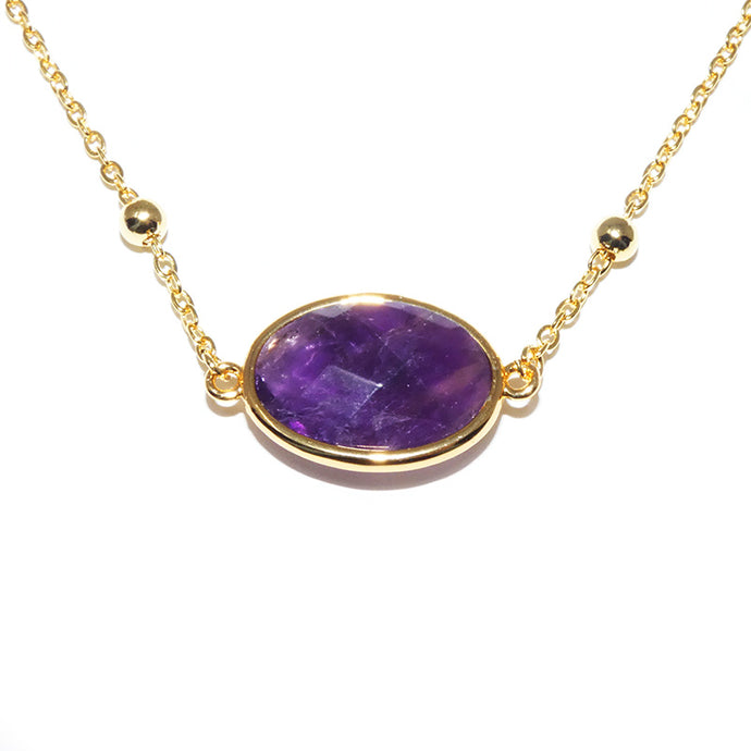 Faceted Gemstone Oval Amethyst Pendant Choker 14
