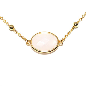 "Faceted Gemstone Oval Rose Quartz Pendant Choker 14"" + 2"" Gold Necklace"