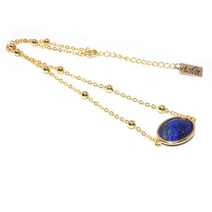 "Faceted Gemstone Oval Lapis Lazuli Pendant Choker 14"" + 2"" Gold Necklace"