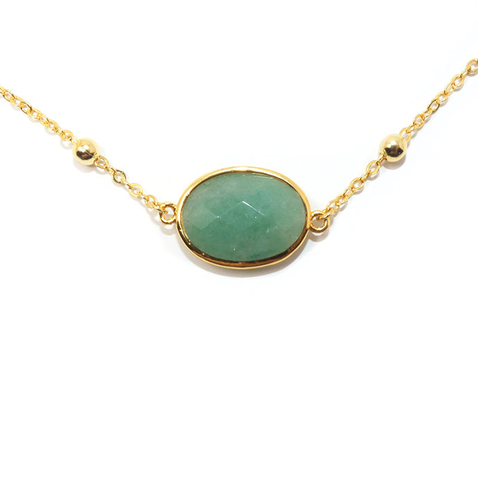 Faceted Gemstone Oval Green Aventurine Pendant Choker 14