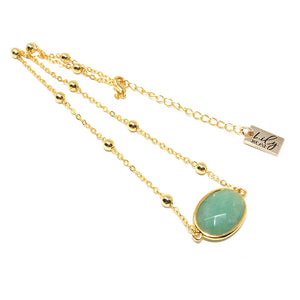 "Faceted Gemstone Oval Green Aventurine Pendant Choker 14"" + 2"" Gold Necklace"