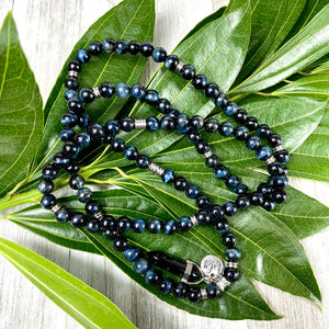 Limited Edition Hawk Eye & Onyx 108 Stretch Mala Necklace Bracelet