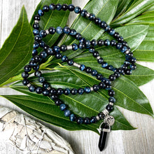 Load image into Gallery viewer, Limited Edition Hawk Eye & Onyx 108 Stretch Mala Necklace Bracelet