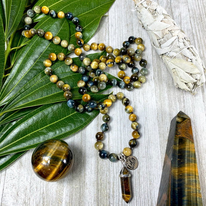 Limited Edition Honey Blue Tigers Eye Velvet Transitioning 108 Hand Knotted Mala with Point Charm Pendant Necklace