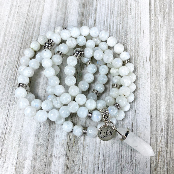 Limited Edition Rainbow Moonstone Miracles & Universal Energy 108 Stretch Mala Necklace Bracelet