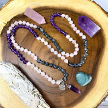 Load image into Gallery viewer, Limited Edition Triple Power Labradorite, Amethyst, Rose Quartz 108 Hand Knotted Mala with Point Charm Pendant Necklace