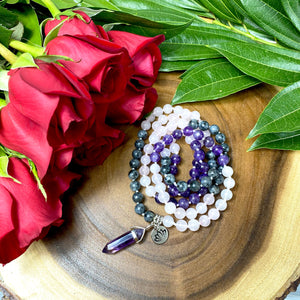 Limited Edition Triple Power Labradorite, Amethyst, Rose Quartz 108 Hand Knotted Mala with Point Charm Pendant Necklace
