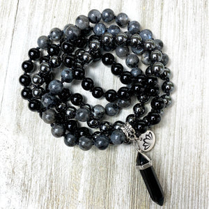 Limited Triple Power Grounding & Stress Reliever Black Onyx Hematite Labradorite 108 Hand Knotted Mala with Point Charm Pendant Necklace
