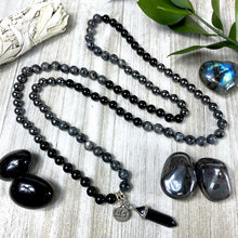 Load image into Gallery viewer, Limited Triple Power Grounding & Stress Reliever Black Onyx Hematite Labradorite 108 Hand Knotted Mala with Point Charm Pendant Necklace