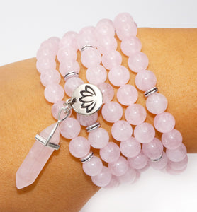 Rose Quartz True Love 108 Mala Necklace Bracelet