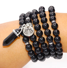 Load image into Gallery viewer, Black Onyx Spiritual Warrior Strength 108 Mala Necklace Bracelet