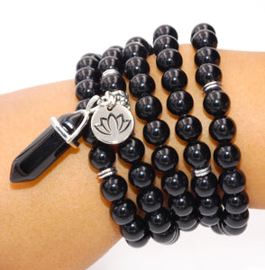 Black Onyx Spiritual Warrior Strength 108 Mala Necklace Bracelet