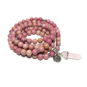 Rhodonite Unconditional Love 108 Mala Necklace Bracelet