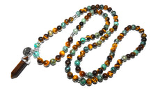 Load image into Gallery viewer, Tigers Eye & African Turquoise Duo Powerhouse Endless Possibilities 108 Mala Necklace Bracelet