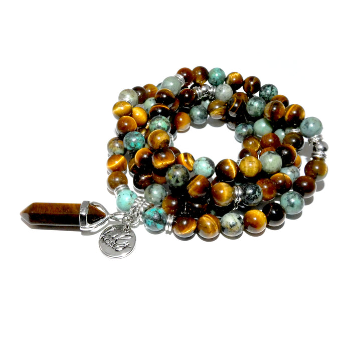 Limited Duo Powerhouse Tigers Eye & African Turquoise Endless Possibilities 108 Mala Necklace Bracelet