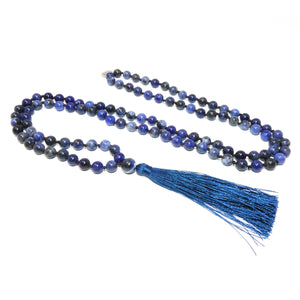 Sodalite Harmony 108 Hand Knotted Mala with Tassel Necklace