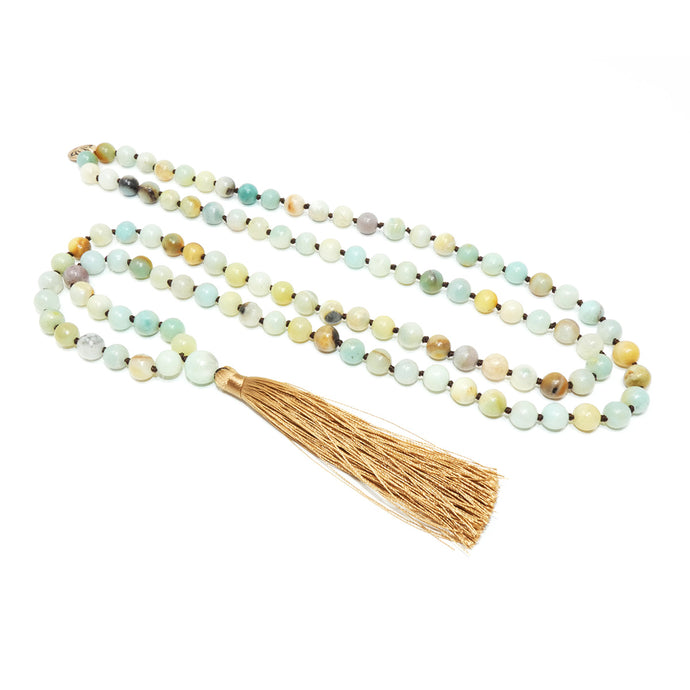 Australian Amazonite Clarity 108 Hand Knotted Mala with Tassel Necklace