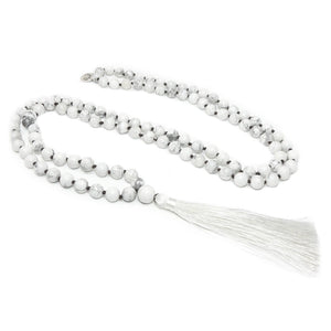 Howlite Happiness 108 Hand Knotted Mala with Tassel Necklace
