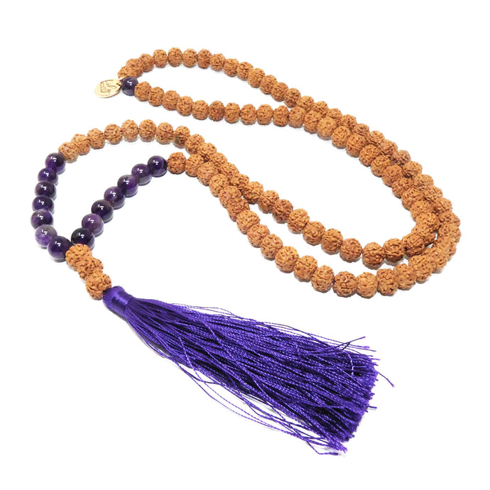 Bodhi and Amethyst Wisdom and Balance 108 Mala with Tassel Necklace