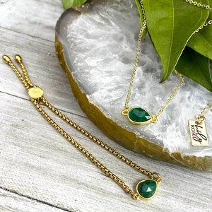 Malachite Power & Transformation Sweet Drop Gold on Stainless Steel Adjustable Bracelet
