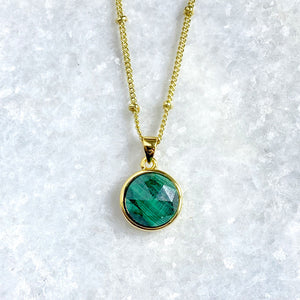 "Malachite Power & Transformation Perfect Circle Pendant 18"" Gold Necklace"