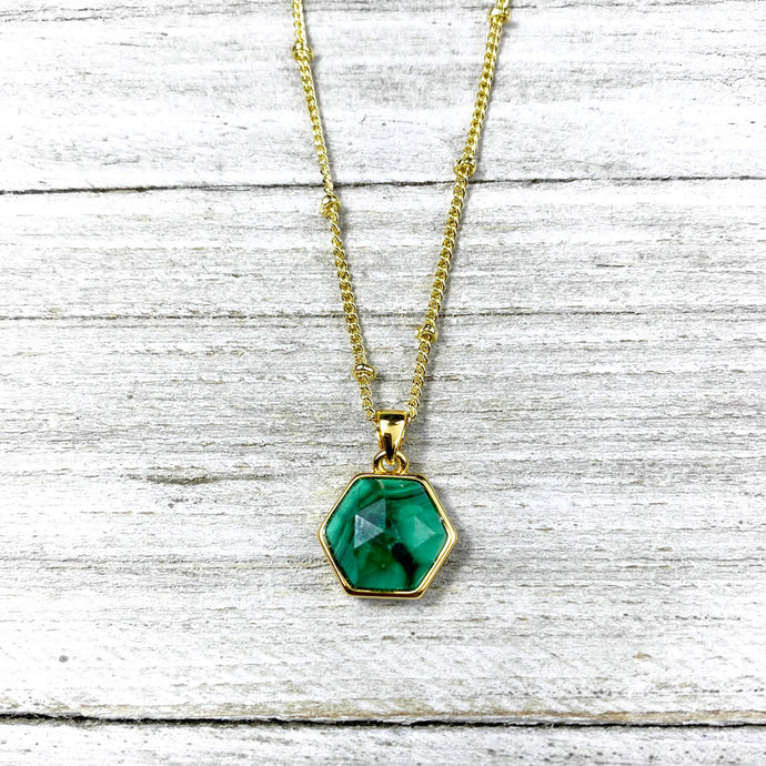 "Malachite Power & Transformation Hexagon Pendant 18"" Gold Necklace"