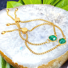 Load image into Gallery viewer, Malachite Power & Transformation Sweet Drop Gold on Stainless Steel Adjustable Bracelet