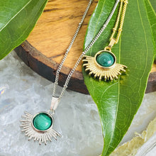 "Load image into Gallery viewer, Malachite Ray of Light Sunburst Highest Energy Sun Pendant 18"" Gold Necklace"