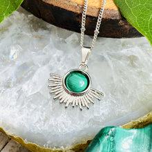 "Load image into Gallery viewer, Malachite Ray of Light Sunburst Highest Energy Sun Pendant 18"" White Gold Necklace"