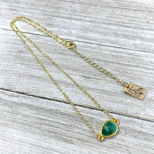 "Load image into Gallery viewer, Malachite Power & Transformation Sweet Drop Choker 14"" + 2"" Gold Necklace"