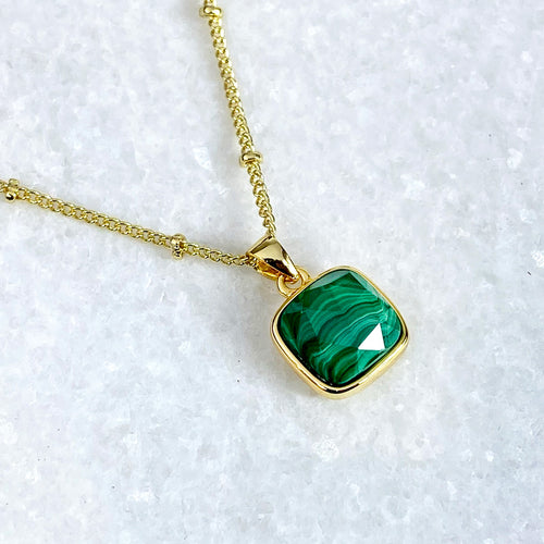 "Malachite Power & Transformation Square Pendant 18"" Gold Necklace"