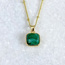 "Load image into Gallery viewer, LAST ONE! Malachite Power & Transformation Square Pendant 18"" Gold Necklace"