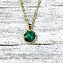 "Load image into Gallery viewer, Malachite Power & Transformation Perfect Circle Pendant 18"" Gold Necklace"