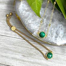 "Load image into Gallery viewer, Malachite Power & Transformation Perfect Circle Choker 14"" + 2"" Gold Necklace"