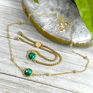 "Malachite Power & Transformation Perfect Circle Choker 14"" + 2"" Gold Necklace"