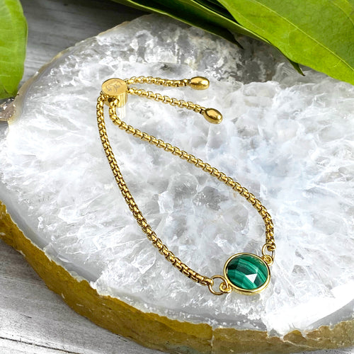 Malachite Power & Transformation Perfect Circle Gold on Stainless Steel Adjustable Bracelet