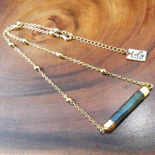 "Load image into Gallery viewer, Minimalist Magician Wand Labradorite Bar Horizontal Pendant Choker 14"" + 2"" Gold Necklace"