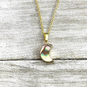 "Abalone Minimalist Moon Inner Peace Pendant 18"" Gold Necklace"