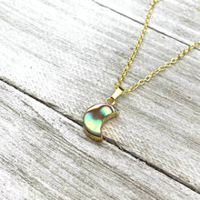 "Load image into Gallery viewer, Abalone Minimalist Moon Inner Peace Pendant 18"" Gold Necklace"