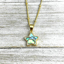 "Load image into Gallery viewer, Abalone Minimalist Star Confidence Pendant 18"" Gold Necklace"