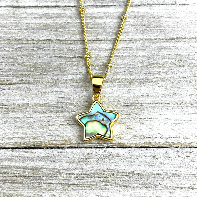 "Abalone Minimalist Star Confidence Pendant 18"" Gold Necklace"