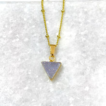 "Load image into Gallery viewer, Minimalist Triangle Aura Quartz Druzy Gemstone Pendant 18"" Gold Necklace"