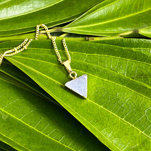 "Minimalist Triangle Aura Quartz Druzy Gemstone Pendant 18"" Gold Necklace"