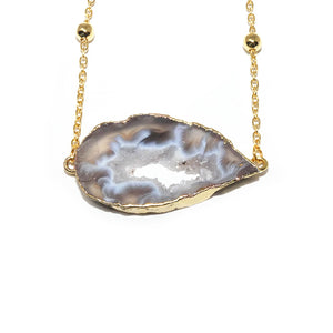 "Inner Peace Druzy Quartz Geode Slice Pendant Choker 14"" + 2"" Gold Necklace"
