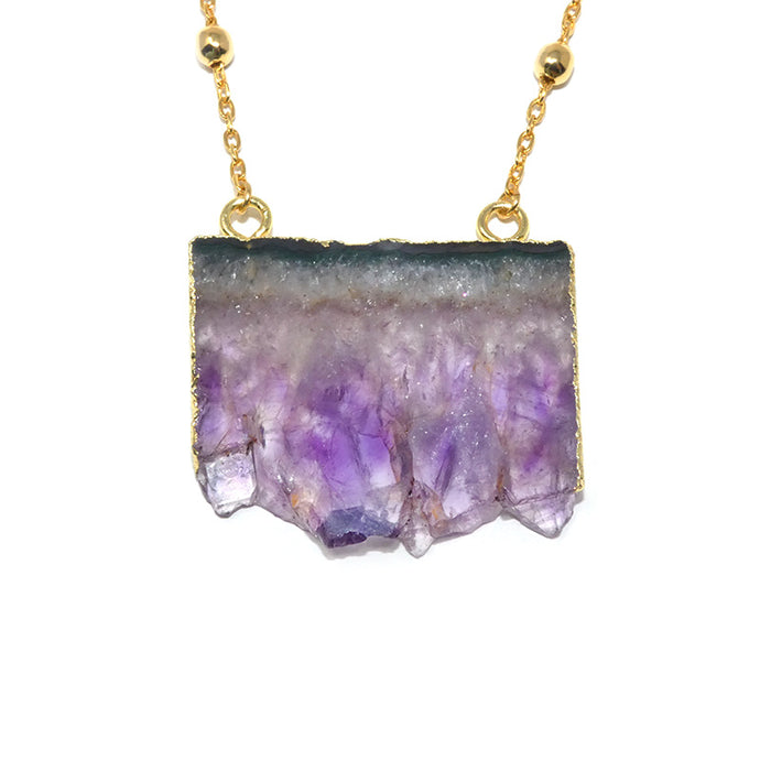 "Queen Amethyst Sliced Geode Pendant 18"" Gold Necklace"