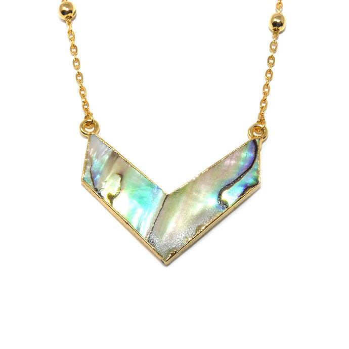 "Chic Chevron Abalone Shell Arrow Pendant 18"" Gold Necklace"
