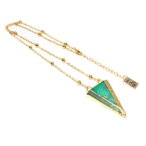 "Dynamic Triangle Chrysoprase Double Sided Pendant 18"" Gold Necklace"