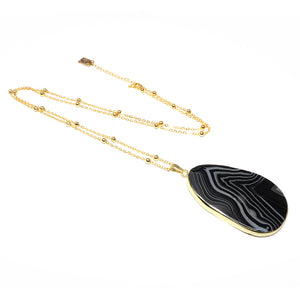 "Inner Strength Black Lace Agate Thick Slice Pendant 30"" Gold Necklace"